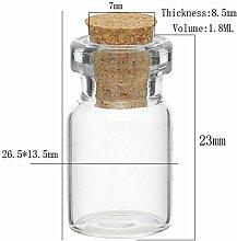 Nibesser Gewürzglas Glasdose mit Korkverschluss 10 Stück 1,8ml