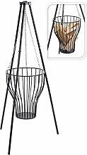 Nick and Ben Feuerkorb aus Stahl mit Gestell 80cm hoch Hänge-Feuerkorb Garten-Deko Garten-Zubehör Feuer-Schale