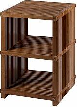 Nicol 9701060 Finn Regal Bambus Faltbares, platzsparend mit 2 Fächern, braun, 40.0 x 65.0 x 42.0 cm