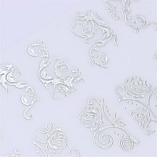 NICOLE DIARY 1 Big Sheet 3D Nail Sticker Multi Blumenmuster DIY Maniküre Floral Selbstklebende Nail Art Tipps Dekoration (Farbe: Splitter)