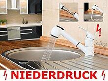 Niederdruck Küche Spültisch Einhebel Armatur Ausziehbarer Schlauch Weiß Weiss Sanlingo