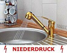 Niederdruck Küchenarmatur in Gold - ausziehbar -