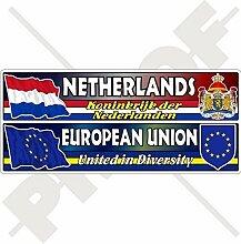 NIEDERLANDE-EUROPÄISCHE UNION Flagge-Wappen EU-NL