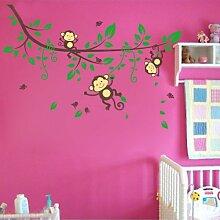 Niedlich Affe Spielend Auf Die Filialen Original Design PVC Wand Aufkleber decalques Kinder Pepiniere Zimmer Abnehmbar Haus Decor