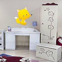 Niedlich Baby Fox Wandaufkleber Waldtier Wandtattoo Kinderzimmer Kinderzimmer Dekor Erhältlich in 8 Größen Groß Digital