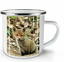 Niedlich Fuchs Foto Tier Weiß Emaille-Becher 10 oz | Wellcoda