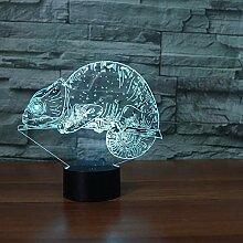 Niedliche Chamäleon 3D Lampe Eidechse 20 Farbe