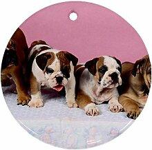 Niedliche Englische Bulldogge Welpen Ornament rund Porzellan Weihnachten tolle Geschenkidee