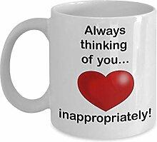 Niedliche Kaffeetasse zum Valentinstag, lustige