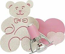 Niedliche Kinderleuchte in Rosa E14 bis 40 Watt 230V Wandleuchte Kinder aus Sperrholz Kunststoff & Metall Kinderlampe für Schlafzimmer Kinderzimmer Lampen Leuchte innen Beleuchtung