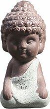 Niedliche Mini-Buddha-Statue aus Keramik, zur Meditation, Dekoration (blau) blau