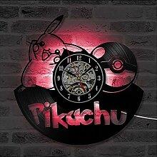 Niedliche Pikachu CD Schallplatte Wanduhr LED mit