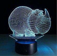 Niedliche Rhino 3D LED Nachtlicht ABS Touch Base