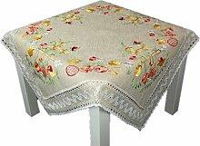 NIEDLICHe Tischdecke 85x85 cm OSTERN Leinenoptik beige Küken Osterglocken gestickt Mitteldecke Ostertischdecke mit Spitze