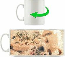 niedlicher Hundewelpe mit kleinen Kätzchen Kunst