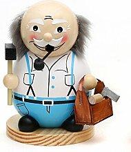 Niedlicher Räuchermann als Opa mit Werkzeuge, ca. 15 cm