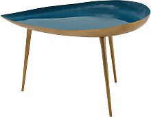Niedriger Design-Tisch aus blaugrün lackiertem