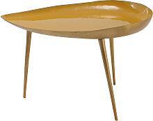 Niedriger Design-Tisch aus gelb lackiertem Stahl
