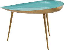 Niedriger Design-Tisch aus wassergrün lackiertem