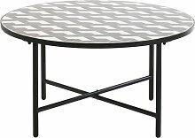 Niedriger, runder Gartentisch aus grauer und