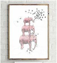 NIEMENGZHEN Druck auf Leinwand Elefant mit