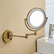 NIHE Europäische Bronze Klappspiegel rotierenden doppelseitige dehnbare Badezimmerspiegel Kosmetikspiegel