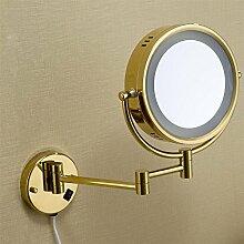 NIHE Europäische plattierte Wand beleuchtet Klappspiegel Gold Vergrößerungsspiegel Badezimmerspiegel