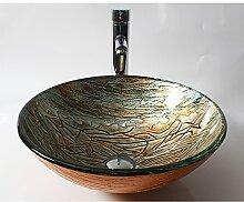 NIHE Modern Aufsatzwaschbecken/Gehärtetes Glas