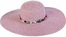 Nikgic mehrfarbige Damenmode Türkis dekorative Strohhut breitkrempigen Hut Urlaub Wind Sonnenhut Freizeit Strohhut Sonnenschutz Produk