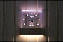 Nikkarien Sauna LED Saunathermometer Polycarbonat mit Kiefernholz 46303