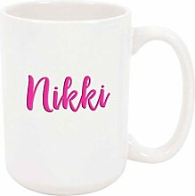 Nikki 11oz Kaffee oder Teebecher Weiß Keramik