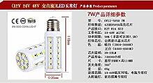 NIKU-E27-B22 E14 220V LED Energiesparlampe Mais Licht Solar Batterie Glühlampe 24V 48V DC 7-20W LED-Lampe, E14-20W-weisses Lich
