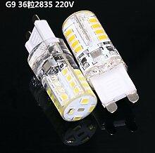 NIKU-G9 Lampe Perlen 2835Led Energiesparen Mais Bubble 220V Hochvolt-Lampe 4W super helle LED-Leuchten Kristall Licht Quelle, Warm-weiß