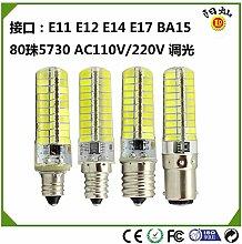 NIKU-Kristall Silikon Lampe 80 Perlen 5730 Dimmen 220V E11, E12, E14, E17-BA15 LED-Energiesparlampe 5W LED-Lampe, E11-weisses Lich