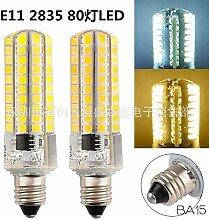 NIKU-LED E11 E12 E14 E17 G4 G8 G9 2835BA15 80 SMD LED 220V auf 5W-LED-Lampe Silikon Mais Glühbirnen Lichtquelle,E11-warmes Lich