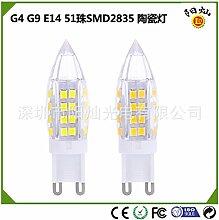 NIKU-Led Keramik G4 G9 E14 LED Lampe 51 Mais Perlen SMD2835 High Voltage 12V Tip Crystal Bubble Lampe LED-Lampe,G4-weisses Lich