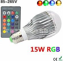 NIKU-Led RGB-Bubble Lampe Dimmbar 15W Glühlampe E27 bunt Bunte LED-Lampe mit LED-Leuchten Lichtquelle,15W-E27 Rgb