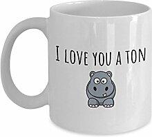 Nilpferd Tasse Valentinstag Geschenkidee I Love