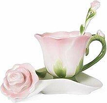 ning88llning5 Tasse 3D Rose Form Blume Emaille