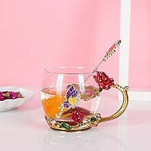 ning88llning5 Tasse Rose Emaille Kaffeeglas Tasse