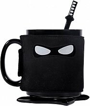 Ninja Kaffeebecher mit Untersetzer, Löffel und Maske - Kaffeetasse Tasse Becher mit Untersetzer, Löffel und Maske