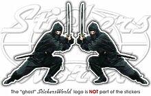 Ninja Warrior Shinobi Japanischer Fighter 10,2cm (100mm) Vinyl Sticker, Aufkleber X2