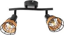 Nino Leuchten Deckenspots ESRA, Schirme mit Rattan