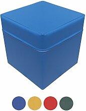 NiroSport Sitzhocker Sitzwürfel Cube 40 x 40 x 40 cm, Schaumstoffpolster, Kunstlederbezug, Blau