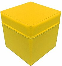 NiroSport Sitzhocker Sitzwürfel Cube 40 x 40 x 40 cm, Schaumstoffpolster, Kunstlederbezug, Gelb