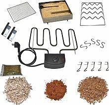 Nischenmarkt XXL Räucherzubehör Paket mit Elektroheizung, Kalträucher Gerät und viel Zubehör für Räucherofen