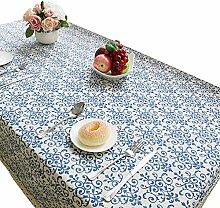 NiSeng Leinen Tischwäsche Deko Elegant Spitze Blumenmuster Tischdecke Rechteckig Pflegeleicht Abwaschbar Outdoor Gartentischdecke Blau 140x200 cm