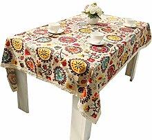 NiSeng Weinlese Böhmen Sonnenblume Druck Leinen Tischdecke Abwaschbar mit Spitze Tischtuch Rechteckig Gartentischdecke Sonnenblume 140x220 cm