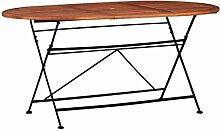 Nishore Klappbar Gartentisch Oval aus Akazie