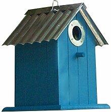 Nistkasten aus Holz mit Metalldach, Dekoration, 4 Farben, Vogelhaus (blau)